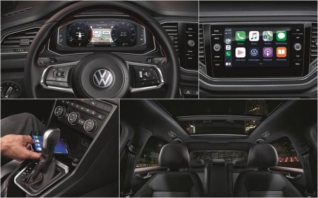 폭스바겐 티록 디지털 콕핏과 8인치 터치 디스플레이, 파노라믹 선루프와 휴대폰 무선충전기. 사진=폭스바겐