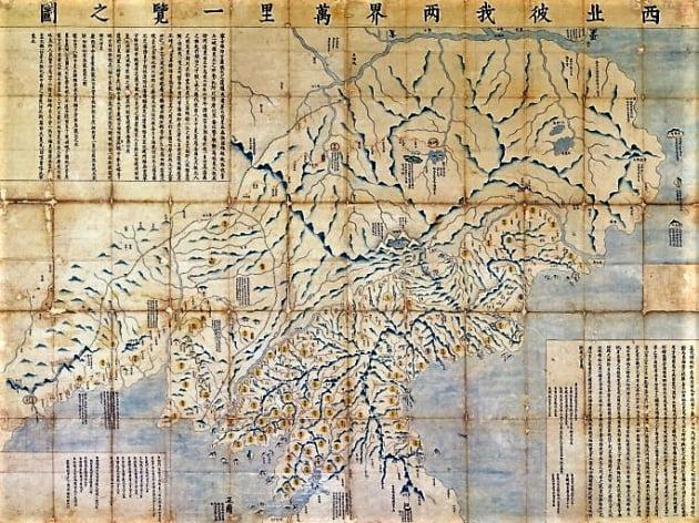'서북피아양계일람지도' 조선과 청나라의 경계를 그린 지도. 국경의 범위가 압록강 두만강을 잇는 선을 넘었다. 국립중앙도서관 소장. 사진=국립중앙도서관
