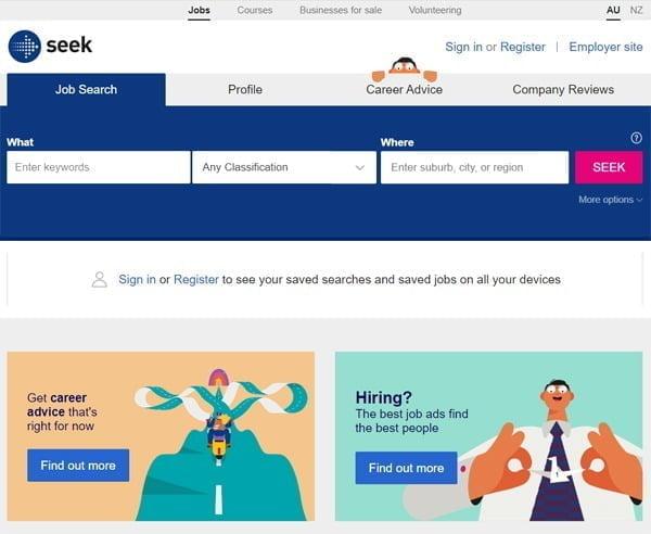 한국 잡코리아 인수전에 참여한 호주 구인구직 중개업체 'SEEK' 홈페이지.