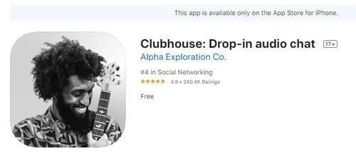 클럽하우스 앱 다운로드 화면. 사진=한경DB