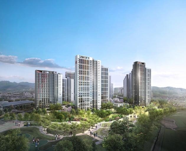 현대건설이 용인시 처인구 고림동에 공급하는  '힐스테이트 용인 둔전역' 조감도. / 자료=현대건설