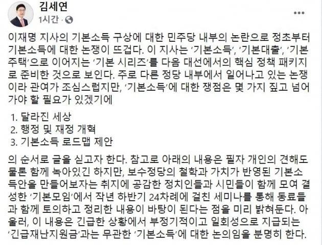 """김세연 """"한달 4만원이 이재명표 기본소득? 과대포장됐다"""""""