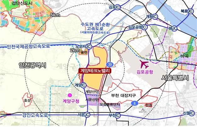 계양테크노밸리 위치도. 인천도시공사