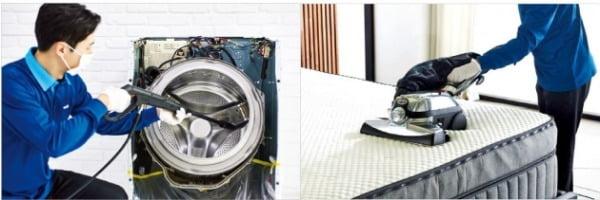 '웰스 홈케어 서비스'는 전문 관리사가 고객의 집을 방문해 세탁기, 에어컨, 매트리스 등을 살균 세척해주는 서비스다.  웰스  제공