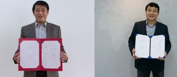왼쪽부터 KG BIO의 Sie Djohan 대표이사와 성영철 제넥신 대표.