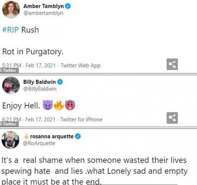 트위터에는 러시 림보의 죽음 조롱하는 글이 넘쳐난다. [사진=트위터 캡처]