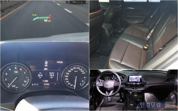 캐딜락 CT4의 헤드업 디스플레이와 계기반, 뒷좌석 공간과 센터페시아 모습. 사진=오세성 한경닷컴 기자