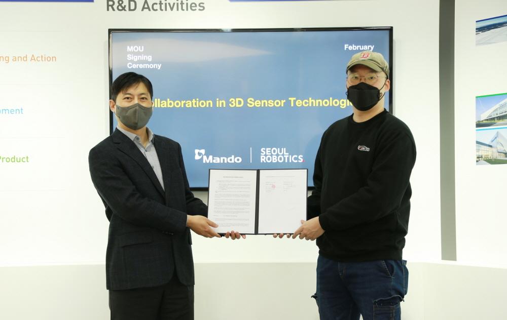 만도, 서울로보틱스와 자율주행 3D 라이다 상용화 MOU 맺어