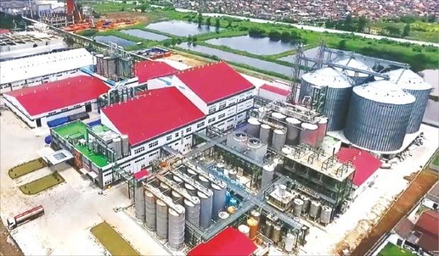 대상이 2017년 3월 인도네시아 동자바주 수라바야시에 준공한 전분당 공장 전경. 옥수수 전분, 액당, 고과당 등 식품 소재를 생산한다.    /대상 제공