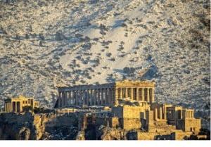 [이 아침의 풍경] 아테네 신전까지 덮친 폭설