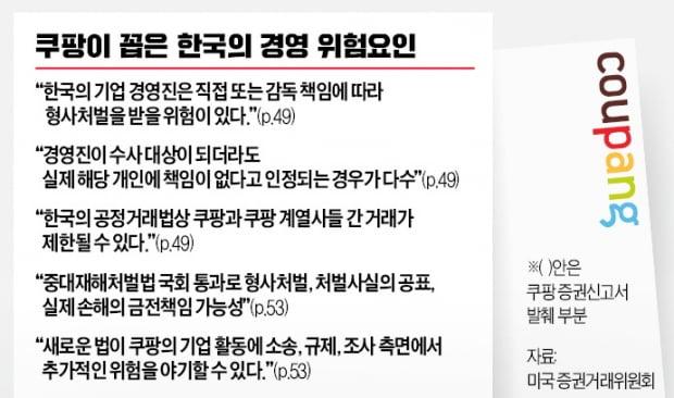 """""""특수한 위험""""…쿠팡 美 신고서에 드러난 '韓 기업 환경 민낯'"""