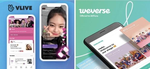 네이버는 빅히트 자회사 비엔엑스는 영상 기반 K팝 팬 커뮤니티 서비스인 브이앱과 위버스를 통합해 새 플랫폼을 출시한다.