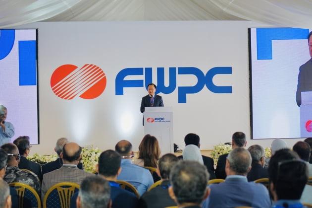 (사진) 김종갑 한국전력 사장이 2019년 10월 요르단 푸제이즈 풍력발전소 준공식에서 기념사하고 있다. /한국전력 제공