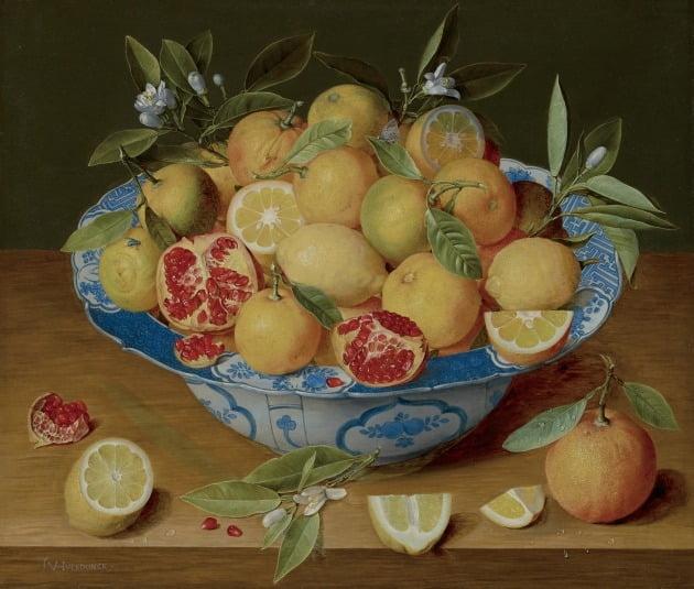 야콥 판 훌스동크, '레몬, 오렌지, 석류가 있는 정물', 1630년경, 미국 로스앤젤레스 장 폴 게티 미술관