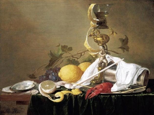 얀 다비드존 데 헤임, '과일, 꽃, 유리잔, 바닷가재가 있는 정물', 1642년, 개인 소장