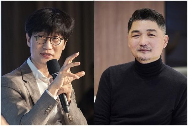 이해진 네이버 GIO(왼쪽)와 김범수 카카오 의장.  /한국경제신문