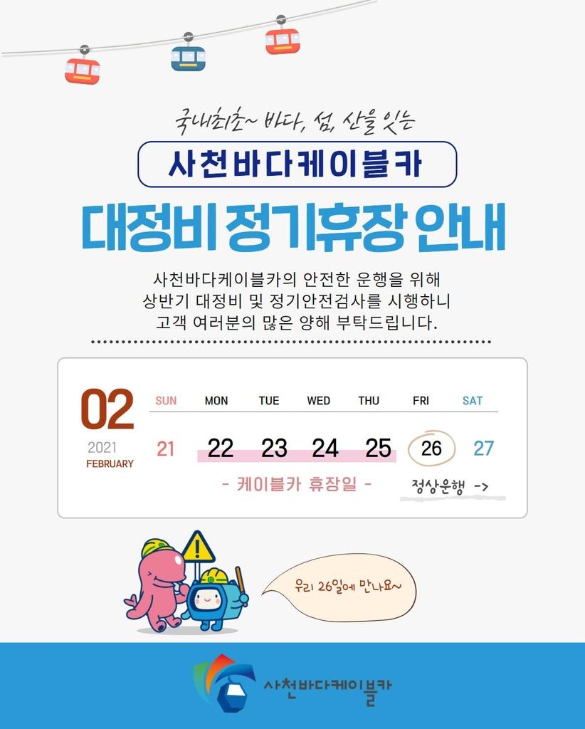 사천 바다케이블카 정비·안전검사로 22∼25일 휴장