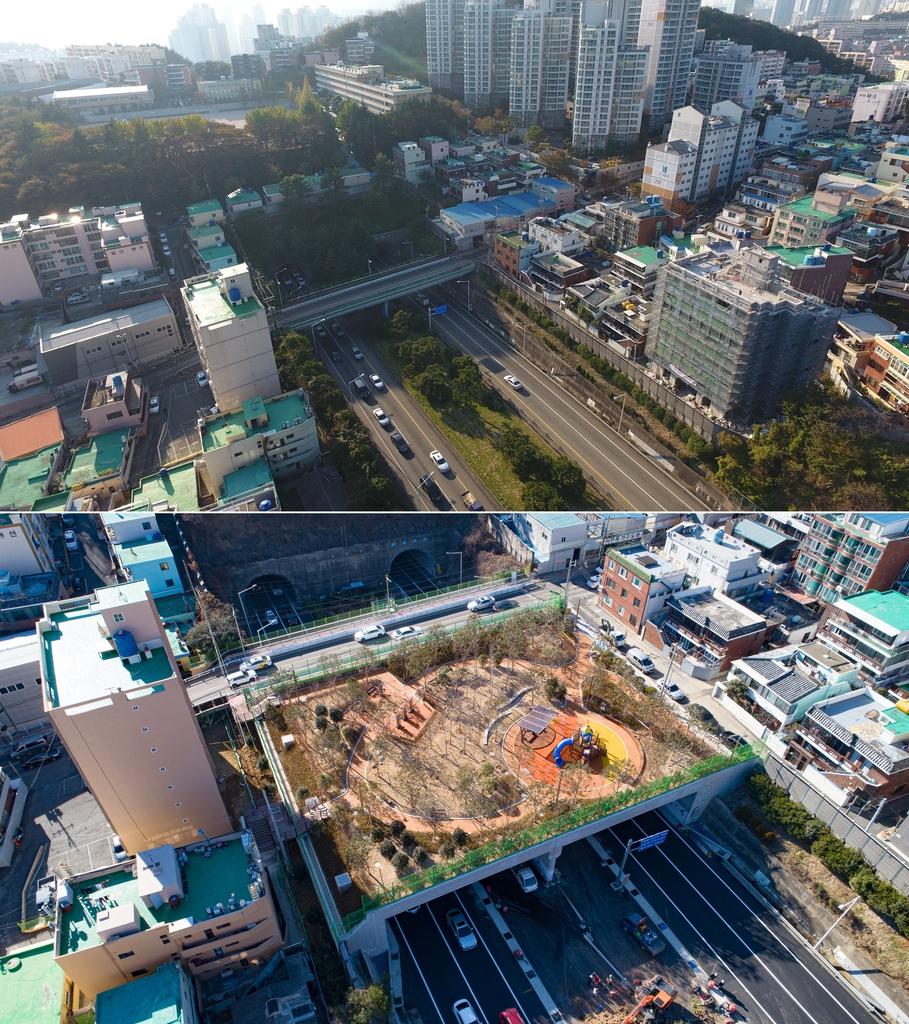 '도로 위 하늘정원' 부산 남구 연포하늘공원 준공
