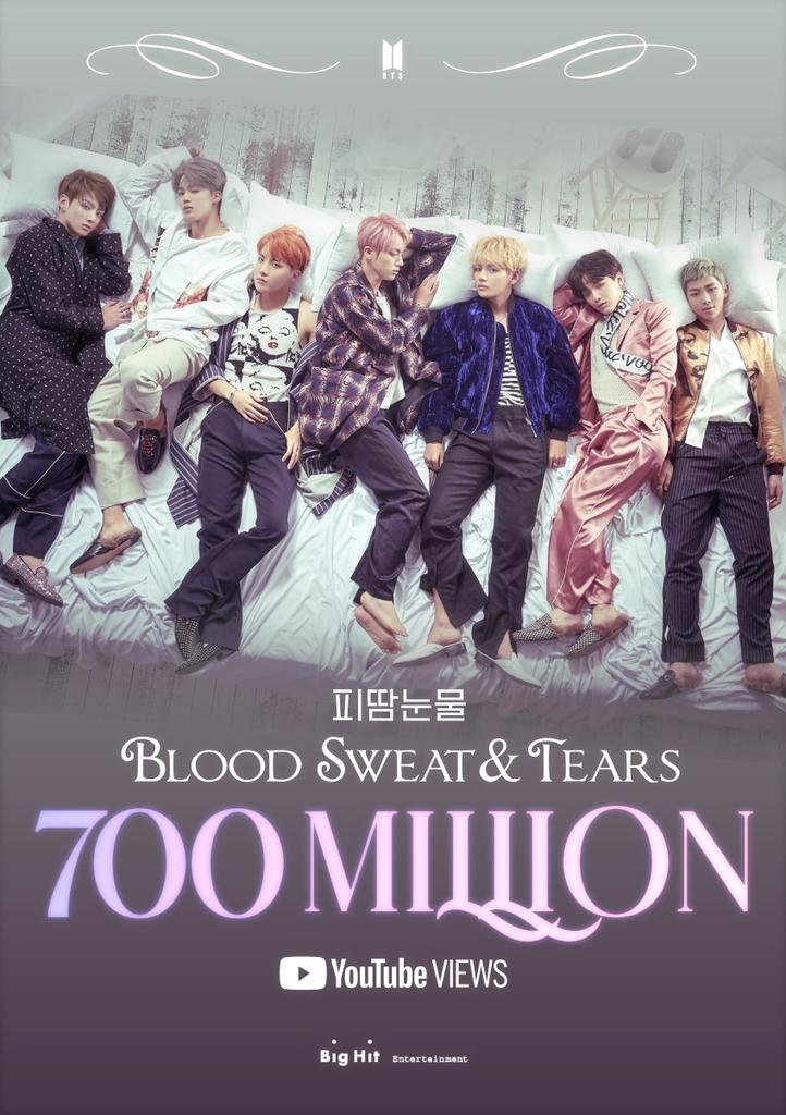BTS, 통산 7번째 7억뷰 MV…'피 땀 눈물'도 돌파