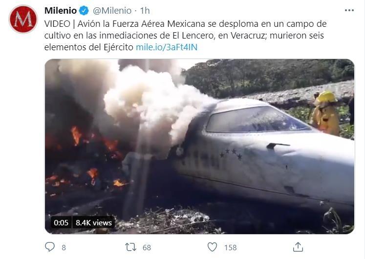 멕시코 공군기 이륙 중 사고…군인 6명 사망