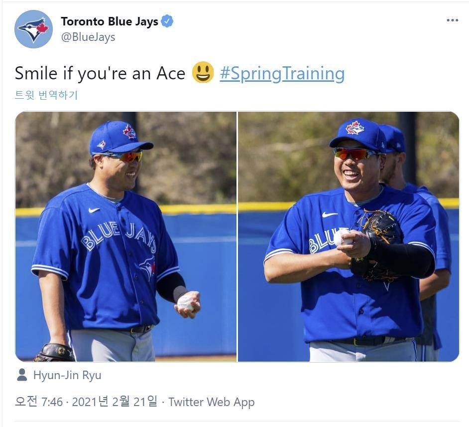 "MLB 토론토 투수코치 ""류현진 작년 이맘때보다 더 좋아"""