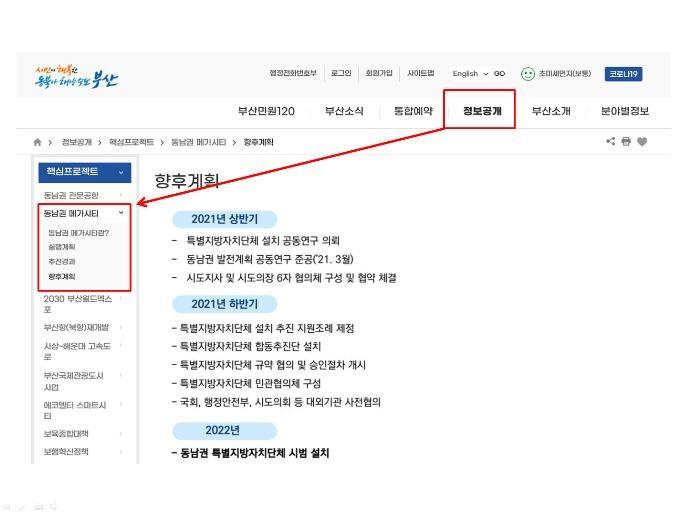 부산시 동남권 메가시티 궁금증 해소 게시판 신설