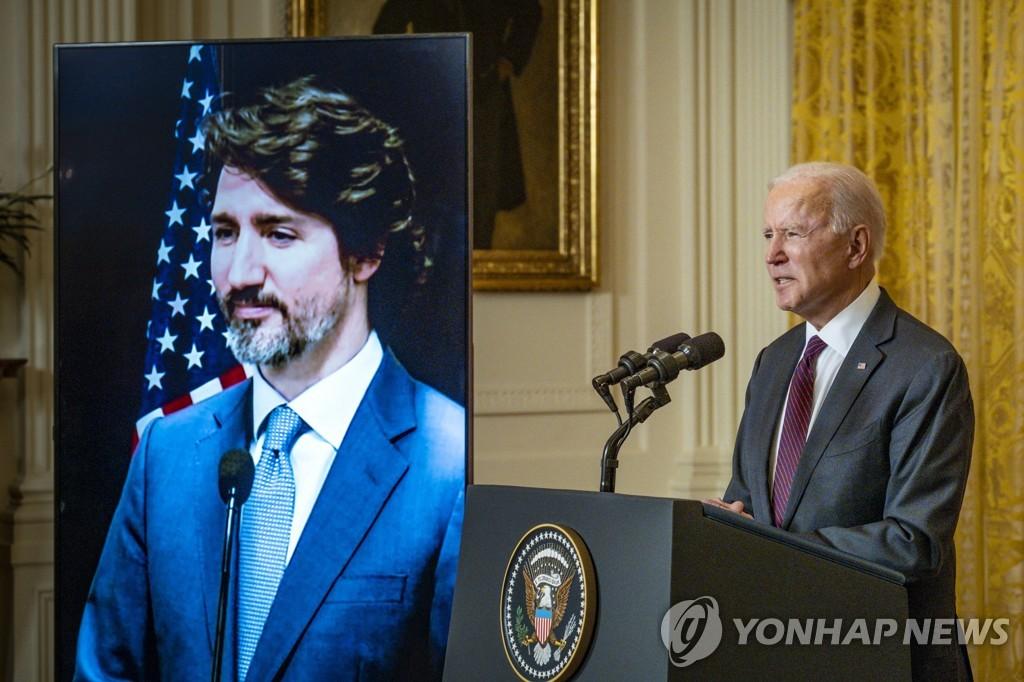 """바이든, 트뤼도와 첫 정상회담…""""중국 억류 캐나다인 석방 협력""""(종합)"""