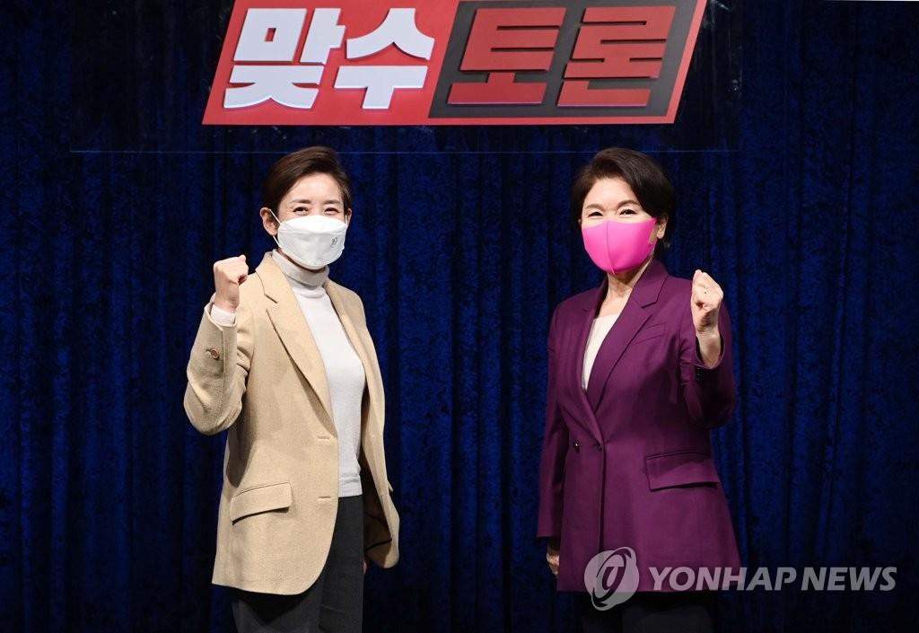 """조은희 속사포에 나경원 '레이저' 눈빛…""""토론은 이런 것"""""""