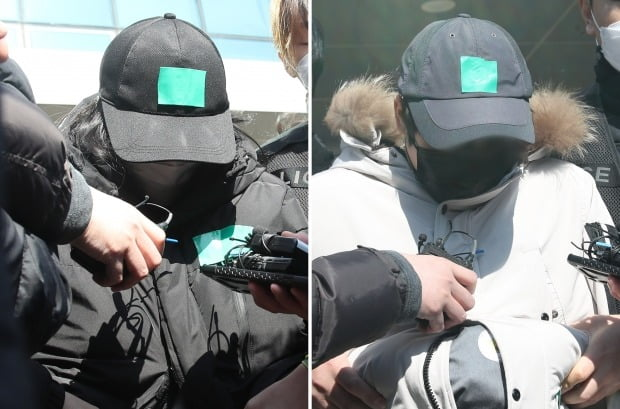 10살 조카를 학대해 숨지게 한 이모(왼쪽)와 이모부가 17일 오후 경기도 용인동부경찰서에서 검찰로 송치되고 있다. /사진=연합뉴스