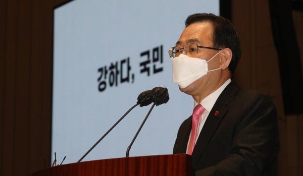 주호영 국민의힘 원내대표가 17일 오전 서울 여의도 국회에서 열린 의원총회에서 모두발언을 하고 있다. /사진=뉴스1
