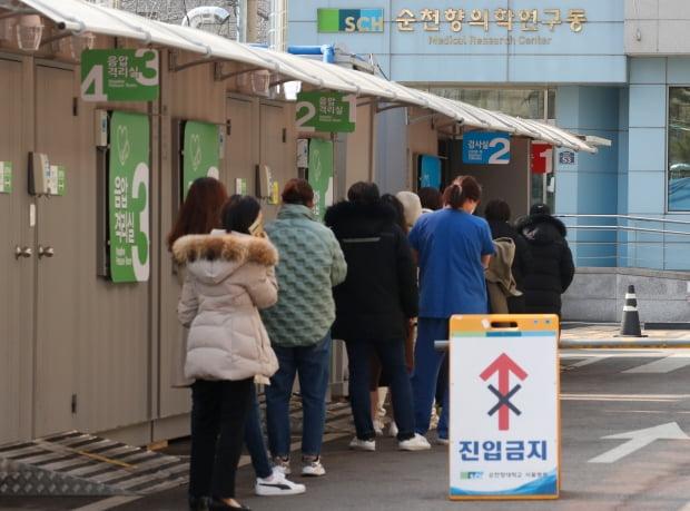 21일 순천향대학교 서울병원에 설치된 코로나19 선별진료소에서 시민들이 검사를 기다리고 있다. 사진=뉴스1