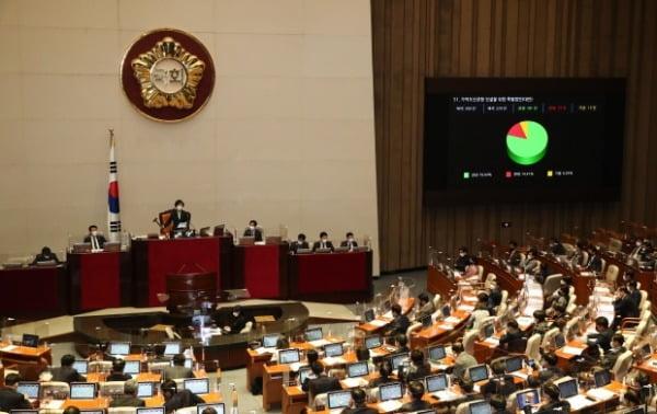 26일 국회에서 열린 본회의에서 가덕도신공항 건설을 위한 특별법안(대안)이 통과되고 있다. /사진=뉴스1