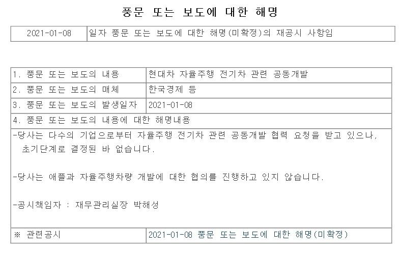 """현대차그룹 """"애플 자율주행차 협의 진행 안 해"""""""