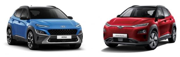 코나 가솔린 모델(좌)·코나 전기차 모델(우)./ 사진=현대차