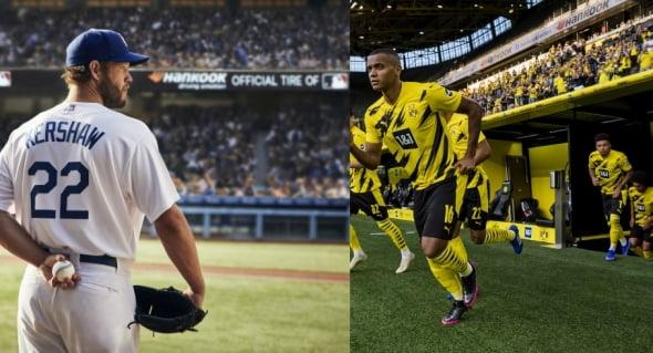 미국 메이저리그(왼쪽)와 독일 프로축구(오른쪽) 경기장의 한국타이어 광고/사진=한국타이어