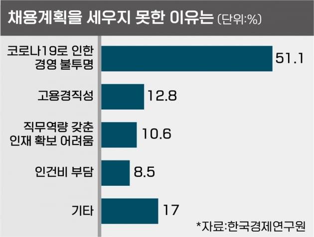 """대기업 10곳중 6곳 """"대졸 신규채용 없거나 못정했다"""""""