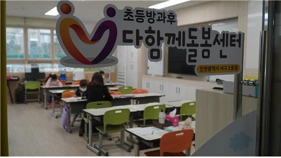 인천시사회서비스원이 수탁 운영을 맡은 인천 서구 다함께 돌봄센터 2호점에서 아동들이 미술 활동을 하고 있다. 사회서비스원 제공