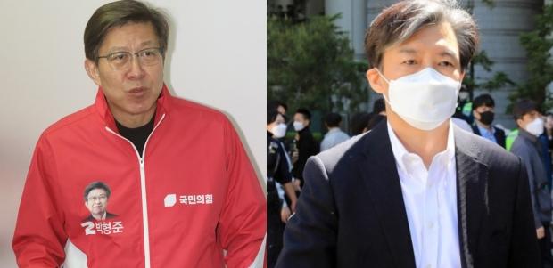 박형준 국민의힘 부산시장 보궐선거 후보(왼쪽)와 조국 전 법무부 장관. 사진=뉴스1