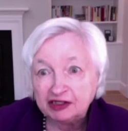 재닛 옐런 미국 재무장관이 22일(현지시간) 화상으로 열린 하원 금융위원회 청문회에서 발언하고 있다. 화상 청문회 캡처