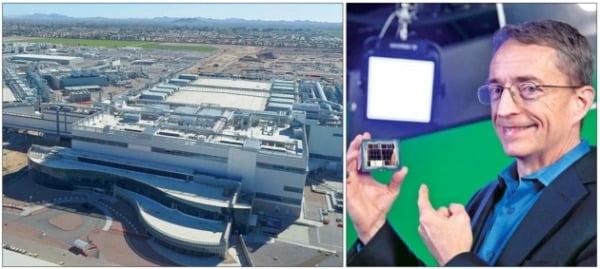 """팻 겔싱어 인텔 최고경영자(CEO·오른쪽 사진)가 24일 열린 온라인 브리핑에서 """"200억달러를 투자해 미국 애리조나에 팹(공장) 두 곳을 짓고 파운드리 사업에 진출하겠다""""고 선언했다. 왼쪽 사진은 인텔의 파운드리 팹이 들어설 예정인 미국 애리조나주 오코틸로 캠퍼스 전경.      /인텔  제공"""