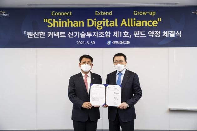 사진 왼쪽부터 정운진 신한캐피탈 사장, 조용병 신한금융그룹 회장. (사진 = 신한금융그룹)