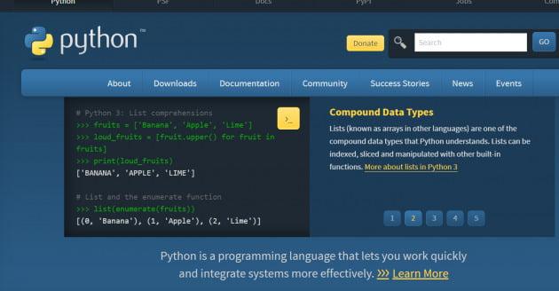 파이선이 최고 인기있는 프로그래밍 언어로 떠오르고 있다. /파이썬 홈페이지 캡처