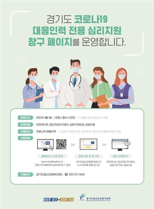 경기도, 코로나19 대응인력 '심리상담창구' 개설