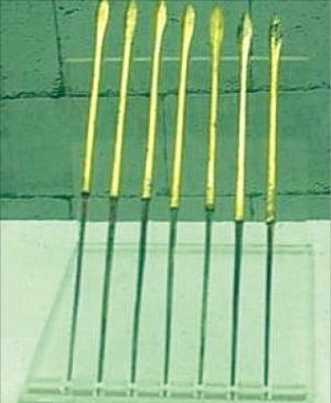 금도금을 한 화살촉들(중국 지안박물관)