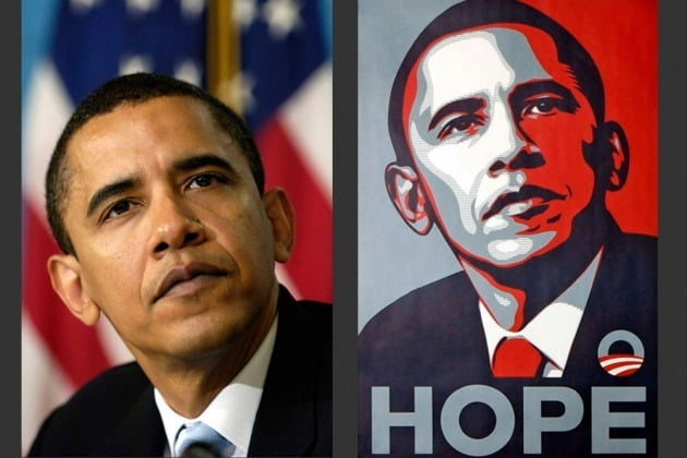 AP통신의 사진기자 매니 가르시아의 오바마 사진(왼쪽)과 셰퍼드 페어리의 '희망 포스터' 작품 /AP·Shepard Fairey