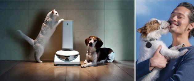 펫 케어 기능을 탑재한 로봇 청소기 '제트봇 AI'(왼쪽)과 위치 관리 액세서리 '갤럭시 스마트태그' /삼성전자 제공