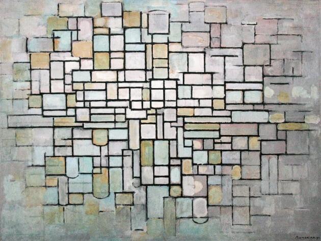 피트 몬드리안, '구성 II (파랑, 회색, 분홍의 구성)', 1913년, 오테를로 크뢸러뮐러 미술관