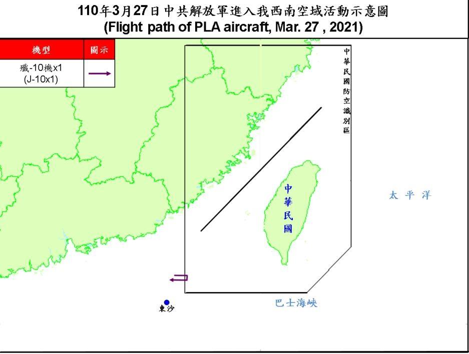 중국 군용기, 27일에도 대만 방공식별구역 진입