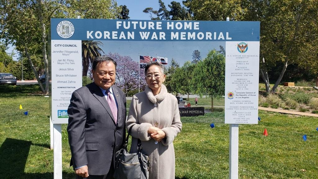 배우 김지미, 미 한국전 참전용사 기념비 건립 2만달러 기부