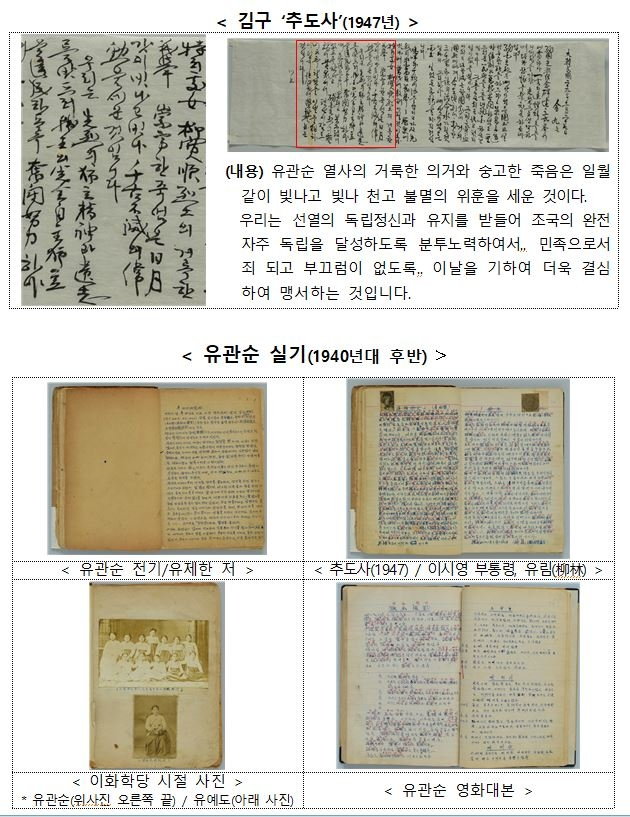 """""""유관순 열사 불멸의 위훈…"""" 김구 선생 친필 추도사 복원·공개"""